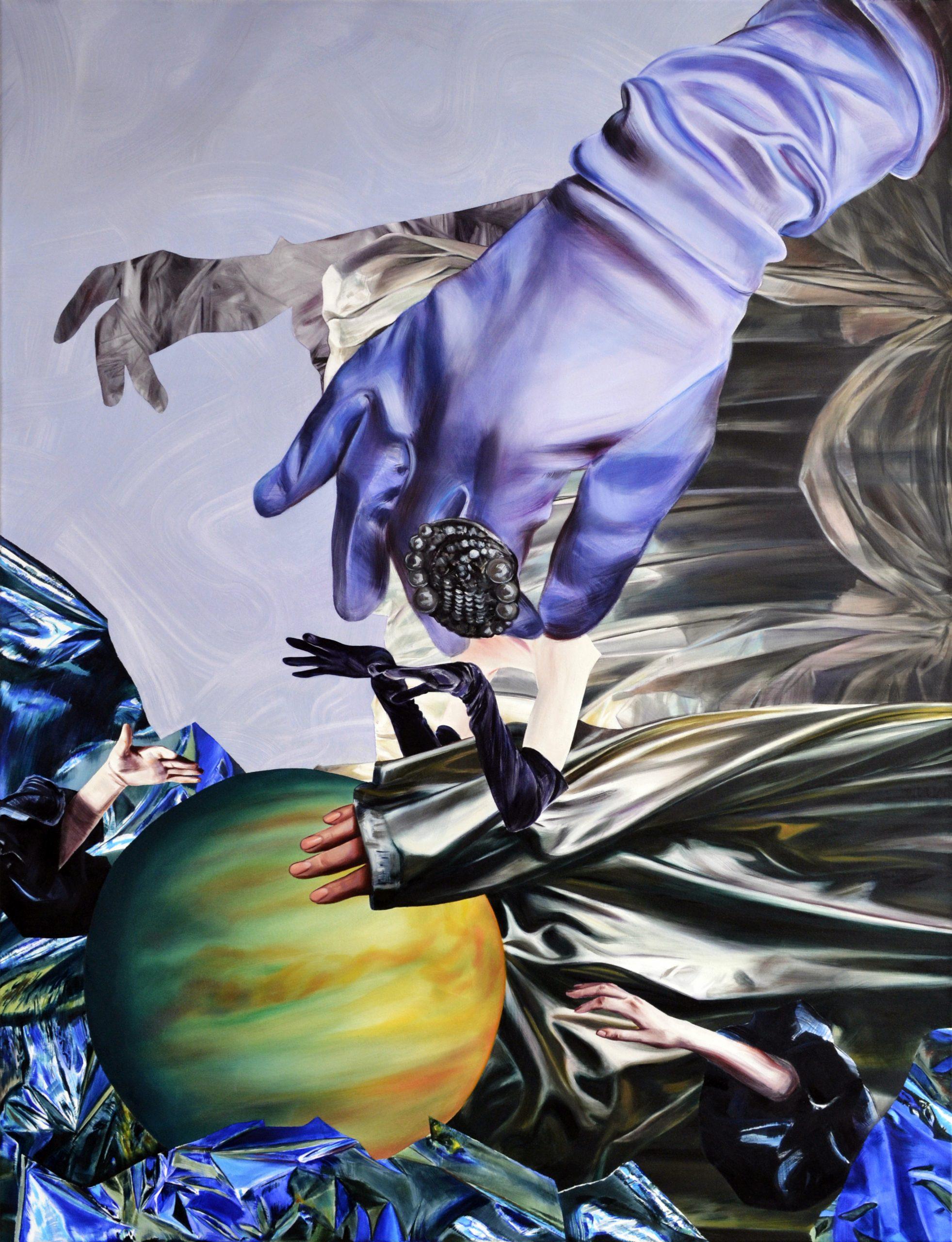 Martyna Borowiecka. She felt waves of silver glow envelop her sensitive skin. 150 x 115 cm. Oil on canvas. 2018
