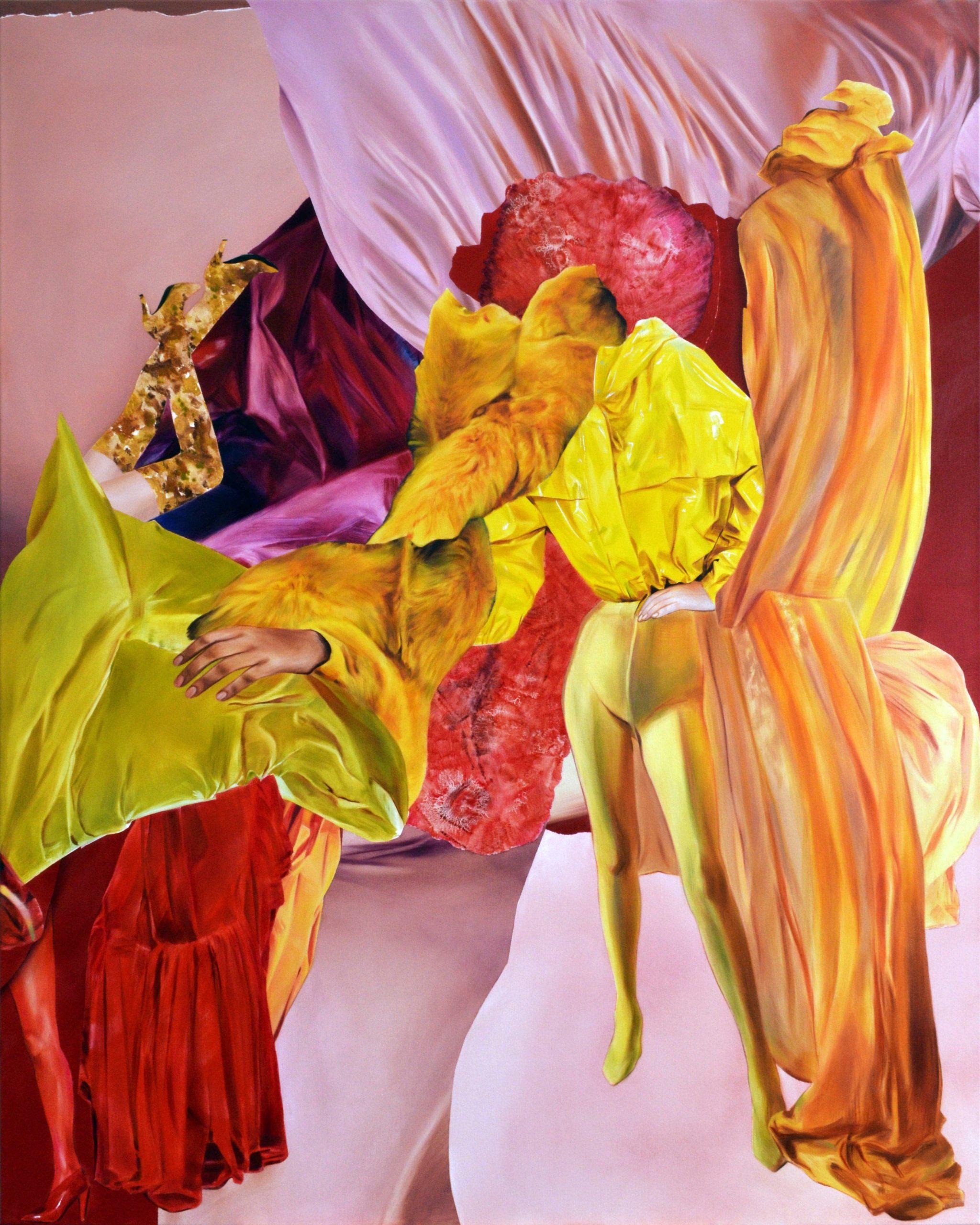 Martyna Borowiecka_Obierała dojrzałą brzoskwinię z lubieżną delikatnością godną bankietu Kleopatry_150x120cm_olej na płótnie_2018