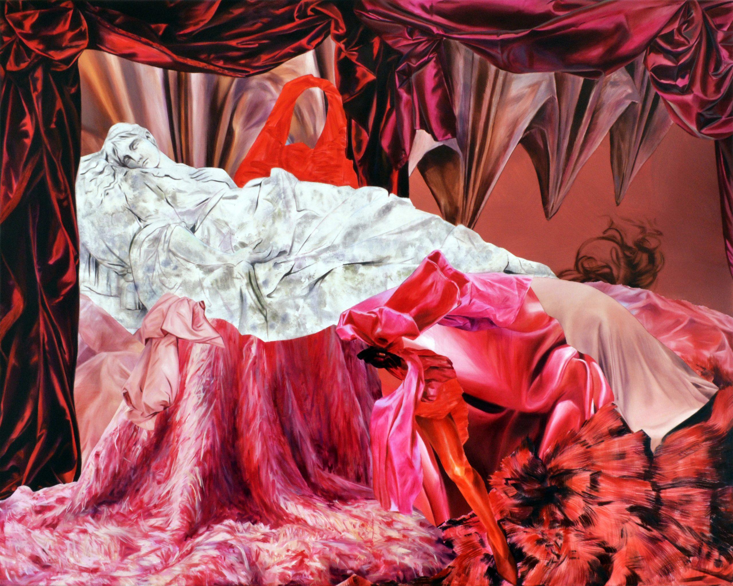 Martyna Borowiecka.Sleepy snakes coiled in their secret hiding places. 120 x 150 cm. Oil on canvas. 2018.